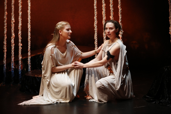 Katie Fabel as Ismene and Rebekah Brockman as Antigone