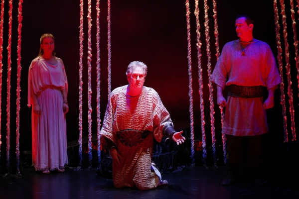Katie Fabel as Ismene, Paul O''Brien as Creon, and Rod Brogan as the Messenger Photo
