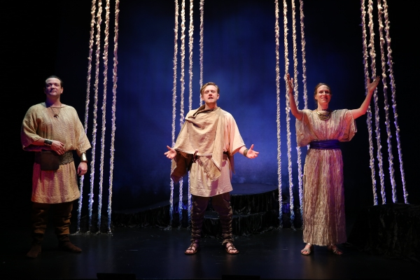 Rod Brogan as the Messenger, Ciaran Bowling as Haemon, and Winsome Brown as Eurydice Photo