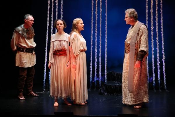 Colin Lane as the Guard, Rebekah Brockman as Antigone, Katie Fabel as Ismene, and Paul O''Brien as Creon