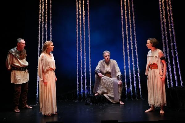 Colin Lane as the Guard, Katie Fabel as Ismene, Paul O''Brien as Creon, and Rebekah B Photo
