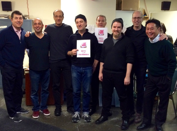 /James Walski, producer Makoto Deguchi, and the TRIP OF LOVE band celebrate the 100th performance