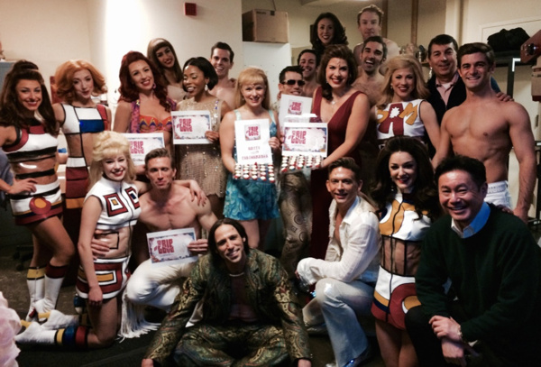 The cast of TRIP OF LOVE celebrates 100 performances with /James Walski and producer Makoto Deguchi