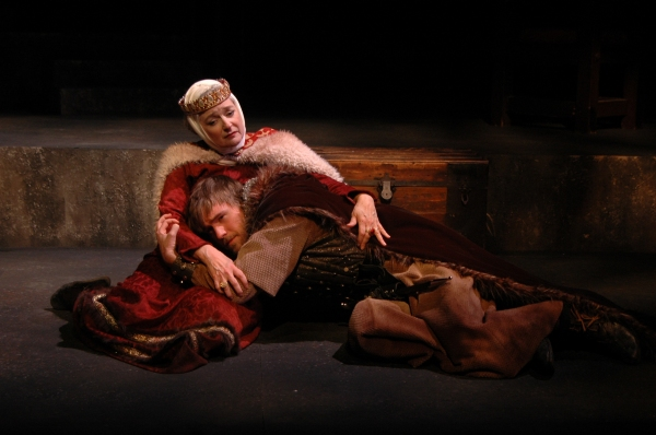 Christina Wellford Scott as Queen Eleanor of Aquitaine comforts Gabe Beutal-Gunn portraying her son Richard, in The Lion in Winter at Theatre Memphis on the Lohrey Stage, January 22 - February 7, 2106.
