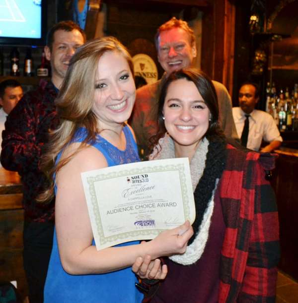 Haley Clair and Deanna Giulietti accept the Audience Choice Award for A CAPPELLA LOVE (music by Nelson Kole, lyrics by Mark Browning Milner, book by Mark Browning Milner, Lorrie Kole and Nelson Kole)