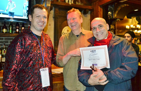 Jonathan S Cerullo, winner: Best Direction for FICTITIOUS (book, music, and lyrics by Tom Hyndman and Paul Cozby), Thomas Morrissey (Artistic , TNNY), Stephen Bishop Seely (Producer, Sound Bites Festival)