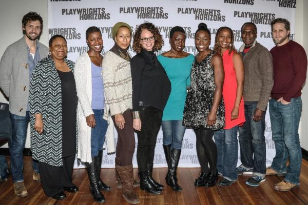 (left to right): Joby Earle, Myra Lucretia Carter, Roslyn Ruff, Tamara Tunie, (with Ms. Taichman and Ms. Gurira), Ito Aghayere, Melanie Nicholls-King, Harold Surratt and Joe Tippett