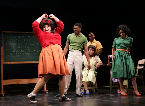 Tracy Turnblad (Amelia Jo Parish) is a bad, bad girl during detention to the delight of Seaweed (Gilbert Domally)