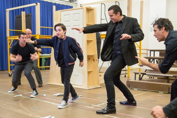 Joshua Colley, Nick Cordero and cast members of A BRONX TALE