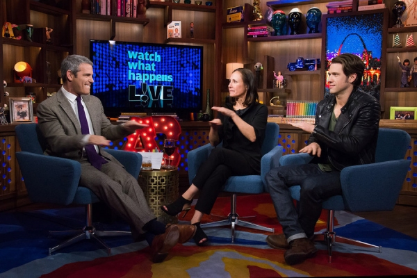 WATCH WHAT HAPPENS LIVE -- Episode 13015 -- Pictured: (l-r) Andy Cohen, Laurie Metcalf, Aaron Tveit -- (Photo by: Charles Sykes/Bravo)