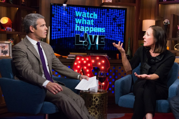 WATCH WHAT HAPPENS LIVE -- Episode 13015 -- Pictured: (l-r) Andy Cohen, Laurie Metcalf -- (Photo by: Charles Sykes/Bravo)