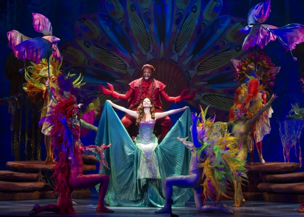 Melvin Abston as Sebastian, Alison Woods as Ariel and the cast of Disney''s THE LITTLE MERMAID