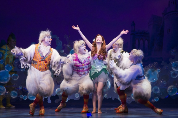 Jamie Torcellini as Scuttle, Alison Woods as Ariel and the cast of Disney''s THE LITTLE MERMAID