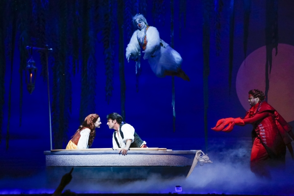 Alison Woods as Ariel, Eric Kunze as Prince Eric, Jamie Torcellini as Scuttle and Melvin Abston as Sebastian