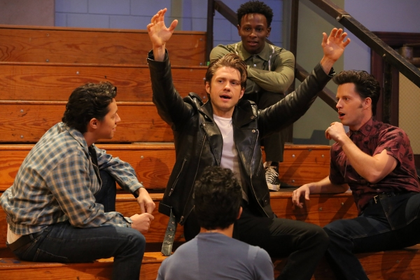 GREASE: LIVE: (L-R) David Del Rio, Aaron Tveit, and Andrew Call rehearse for GREASE: LIVE airing LIVE Sunday, Jan. 31, 2016 (7:00-10:00 PM ET live/PT tape-delayed), on FOX. Cr: Kevin Estrada/FOX