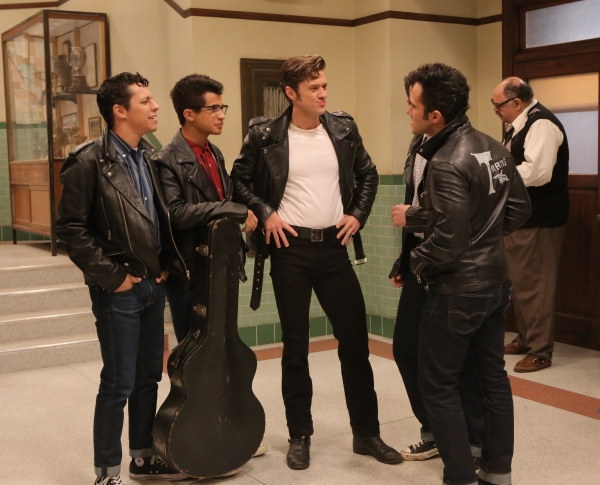 GREASE: LIVE: (L-R) David Del Rio, Jordan Fisher, Aaron Tveit and Carlos PenaVega rehearse for GREASE: LIVE airing LIVE Sunday, Jan. 31, 2016 (7:00-10:00 PM ET live/PT tape-delayed), on FOX. © 2016 Fox Broadcasting CO. Cr: Kevin Estrada/FOX