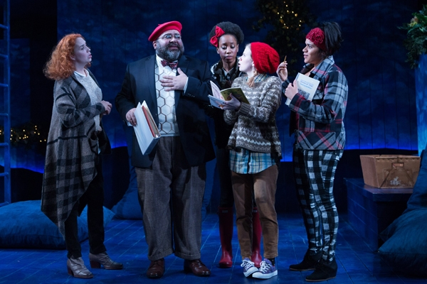 Peter Quince (Richard Ruiz) gives direction to his eager (l to r: Holly Twyford, Monique Robinson, Megan Graves, Justina Adorno).