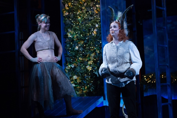 Puck (Erin Weaver, left) looks upon the newly transformed Bottom (Holly Twyford) with impish delight.