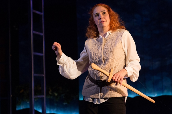 Bottom (Holly Twyford) rehearses for her role as Pyramus in Shakespeareâ€s A Midsu Photo