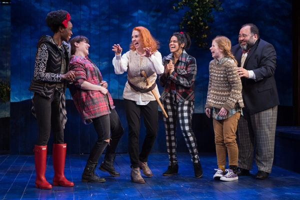 "Bottom (Holly Twyford, center) explains her â€�""most rare visionâ€' to her acting troupe (l to r: Monique Robinson, Dani Stoller, Justina Adorno, Megan Graves, Richard Ruiz)."
