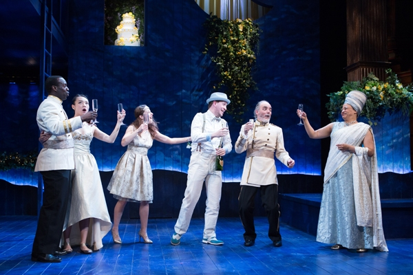 A most happy toast in Shakespeareâ€s most happy A Midsummer Nightâ€s Dream. Pictured from l to r: Desmond Bing, Kim Wong, Betsy Mugavero, Adam Wesley Brown, Eric Hissom, Caroline Stefanie Clay.