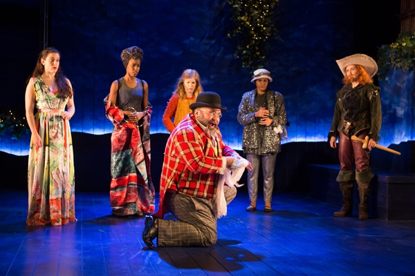 Peter Quince (Richard Ruiz) hams up the stage, leaving his cast (l to r: Dani Stoller, Monique Robinson, Megan Graves, Justina Adorno, Holly Twyford) somewhat perplexed.