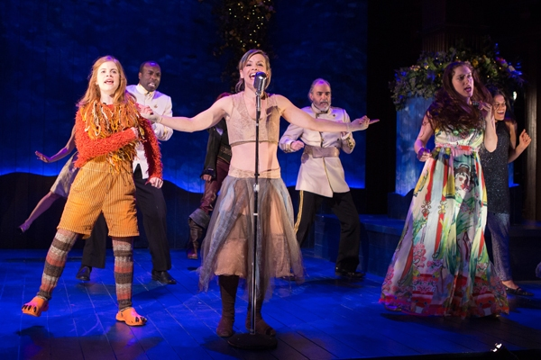 A Midsummer musical celebration in Shakespeareâ€s magical comedy. Pictured l to r: Megan Graves, Desmond Bing, Erin Weaver (front), Eric Hissom, Dani Stoller, and Justina Adorno.