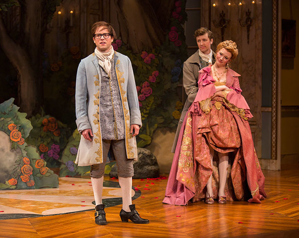 Christian Conn as Damis, Cary Donaldson as Dorant, and Amelia Pedlow as Lucille