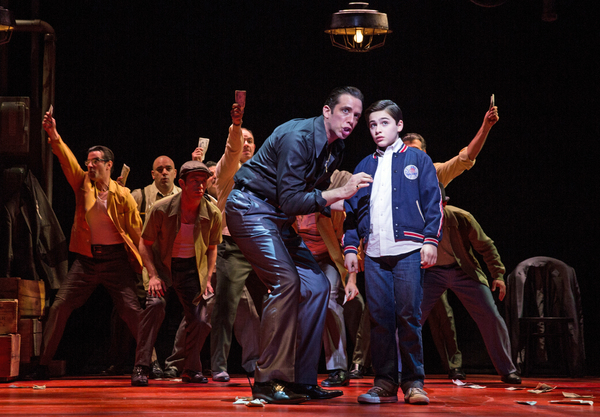 Nick Cordero (Sonny) and Joshua Colley (Young Calogero), center, and the men of A BRONX TALE: THE MUSICAL