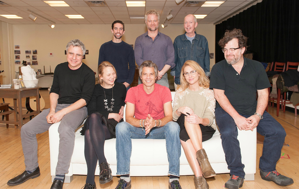 (front row)  Neil Pepe, Adelaide Clemens, Timothy Olyphant, Jenn Lyon, playwright Ken Photo