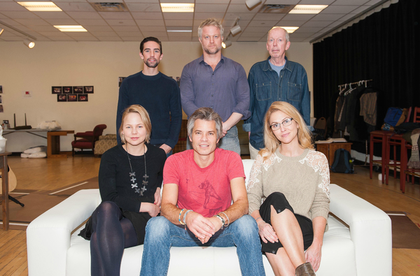 The cast of HOLD ON TO ME DARLING: (front row) Adelaide Clemens, Timothy Olyphant and Jenn Lyon; (back row) Keith Nobbs, C.J. Wilson and Jonathan Hogan.
