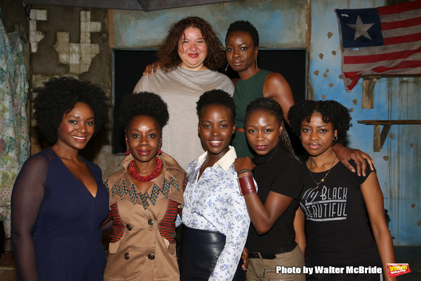 (top row)  Liesi Tommy, playwright Danal Gurira (botton row) Saycon Sengbloh, Akosua Busia, Lupita Nyongâ€o, Zainab Jah and Pascale Armand