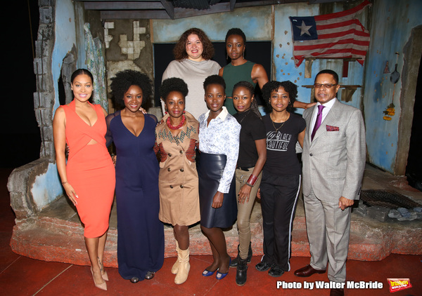 (top row)  Liesi Tommy, playwright Danal Gurira (botton row) La La Anthony, Saycon Sengbloh, Akosua Busia, Lupita Nyongâ€o, Zainab Jah, Pascale Armand and Stephen C. Byrd