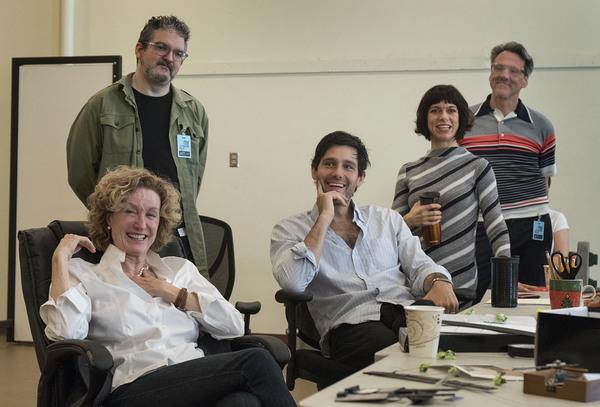Lisa Banes, sound designer John Zalewski, David Clayton Rogers, playwright Sheila Cal Photo