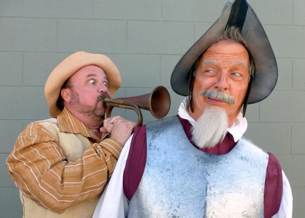 Sancho announces the arrival of the Knight Errant Don Quixote De La Mancha. — with Bradley Miller and Ben Lupejkis.