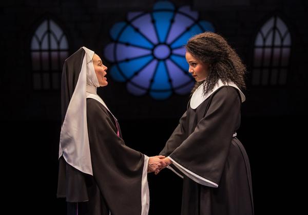 Hollis Resnik as ''Mother Superior'' and Stephanie Umoh as ''Deloris Van Cartier''