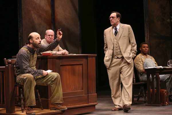 Remi Sandri as Bob Ewell, Robert Rutland as Judge Taylor, Skip Greer as Atticus Finch and Lorenzo Parnell as Tom Robinson