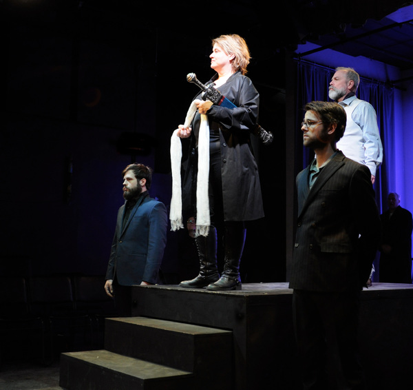 Rico Lanni as Saturninus, Rae Mancini as Titus Andronicus, Dillon Medina as Bassianus, and Roger Lemelin as Marcus Andronicus