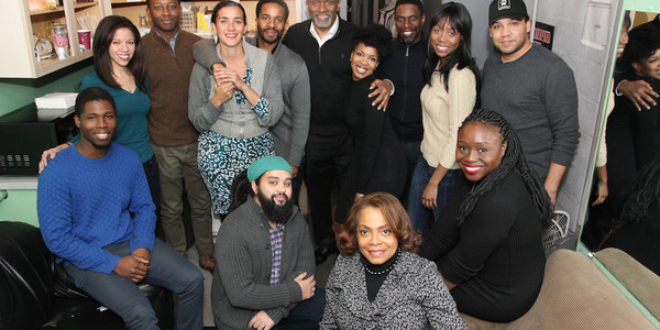 Jakeem Powell, Flor De Liz Perez, Brandon Micheal Hall,  Patricia McGregor, Andre Holland, Jerome Preston Bates, Jessica Frances Dukes, Sekou Laidlow, Amanda Warren, Frank Harts. Front Row: Playwright Nathan Alan Davis, Denise Burse and