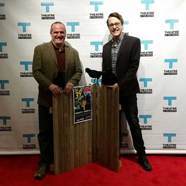 Actors Norm Boucher and Matt Mueller on the red carpet at the opening night of THE 39 STEPS at Theatre at the Center on February 21.