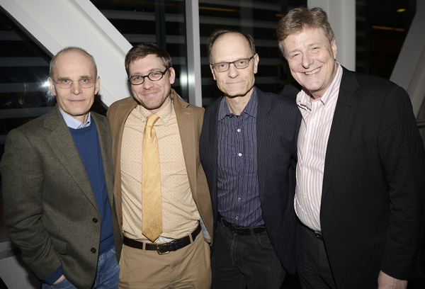 Playwright Greg Pierce (second from left) celebrates his opening night with (l to r) Zeljko Ivanek, uncle David Hyde Pierce, and Brian Hargrove