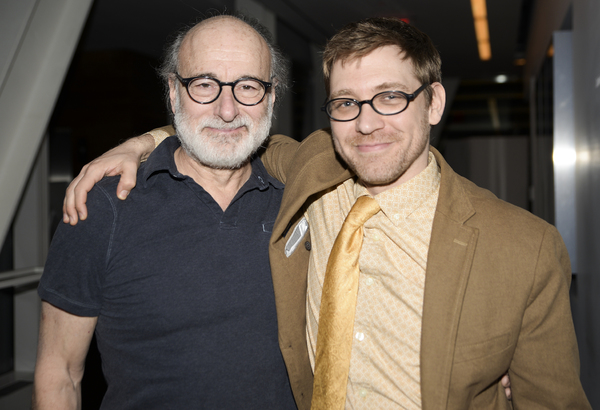Peter Friedman and playwright Greg Pierce are all smiles at their opening night at the Claire Tow Theater.