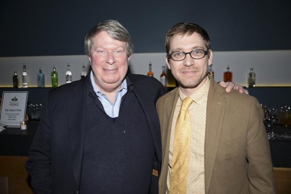 Andre Bishop congratulates playwright Greg Pierce.