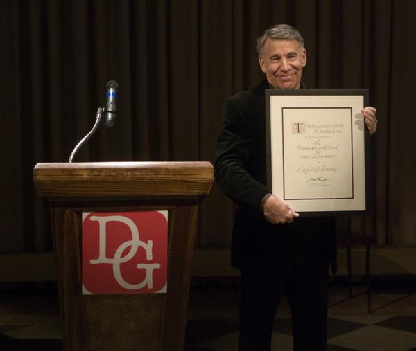 Stephen Schwartz receiving the Career Achievement Award at the Dramatists Guild 2016 Awards Night. Photo by Walter Kurtz.