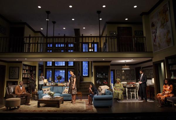 The full cast of FAMILIAR on designer Clint Ramos'' set.