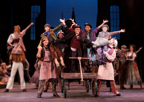 RJ Fattori, Sam Preston, Freddie Kimmel, Troy Woodcroft and the ensemble in the Walnut Street production of OLIVER!