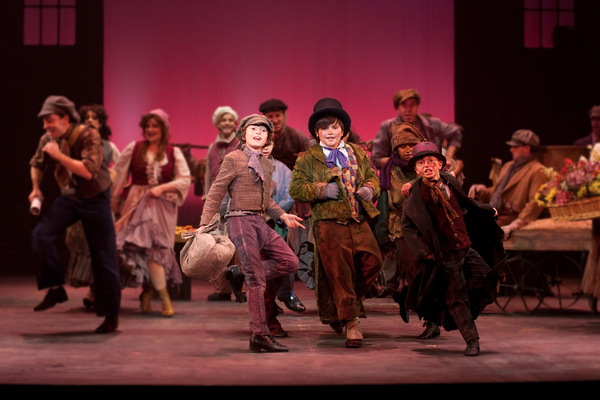 Gregory Smith, Brandon O'Rourke, Troy Woodcroft, Tony Lawton, Freddie Kimmel and the ensemble in the Walnut Street production of OLIVER!