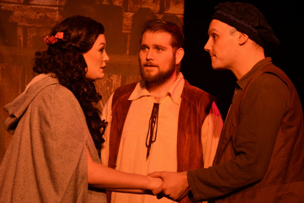 Beauty (Kaitlyn Baldwin) tells Papa (Eric Fletcher) and Chance (Zanden Hogrelius) about the Beast