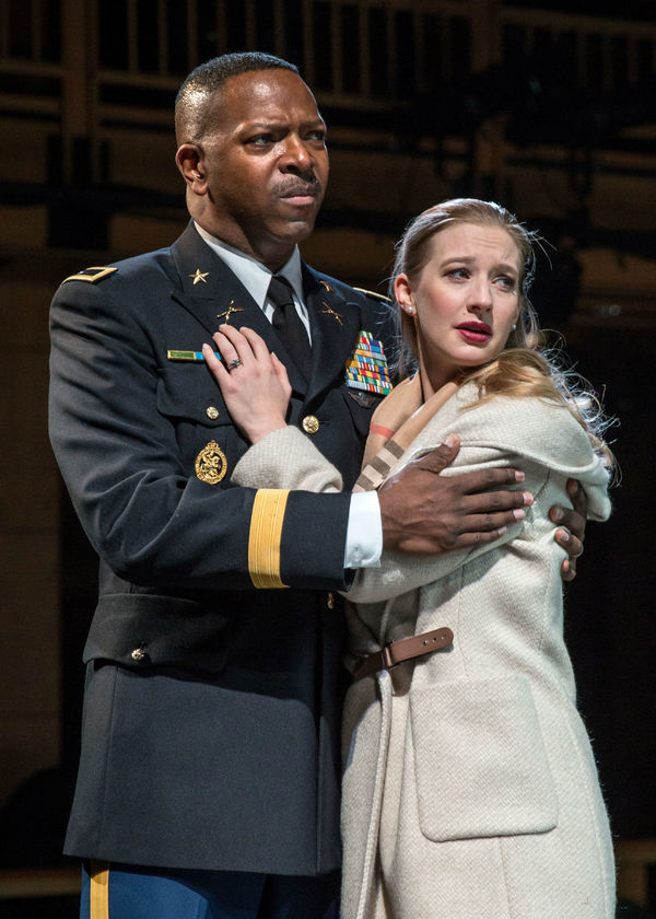 Othello (James Vincent Meredith) clings tightly to his bride Desdemona (Bethany Jillard) after her father disowns her.