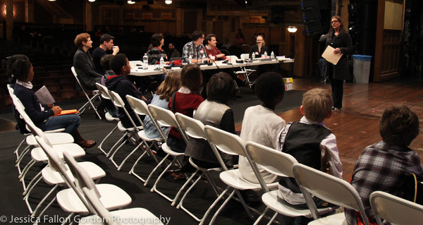Merri Sugarman speaks with some School of Rock auditionees Photo